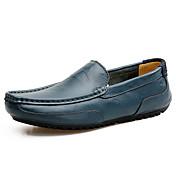 Hombre Zapatos Cuero Primavera Verano Mocasín Zapatos de taco bajo y Slip-On Para Casual Negro Ocre Amarillo Azul