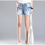 レディース ストリートファッション ミッドライズ ワイドレッグ マイクロエラスティック ショーツ ジーンズ パンツ プリント