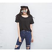 レディース カジュアル/普段着 夏 Tシャツ,シンプル ラウンドネック ソリッド コットン 半袖