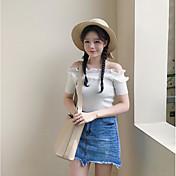 レディース カジュアル/普段着 夏 Tシャツ,シンプル ボートネック ソリッド ポリエステル 半袖