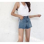 Mujer Sencillo Tiro Medio Microelástico Shorts Pantalones,Holgado A Rayas