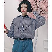 Mujer Simple Casual/Diario Primavera Verano Camisa,Cuello Camisero A Rayas Manga Larga Algodón Fino