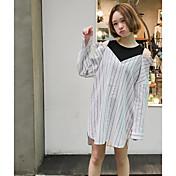 Mujer Simple Casual/Diario Primavera Verano Camisa,Escote Redondo A Rayas Manga Larga Algodón Fino