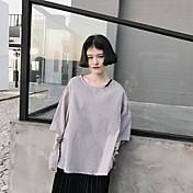 レディース カジュアル/普段着 Tシャツ,シンプル ラウンドネック 千鳥格子 コットン ポリエステル 七部袖
