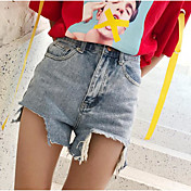 Mujer Chic de Calle Tiro Medio Microelástico Shorts Vaqueros Pantalones,Perneras anchas Un Color