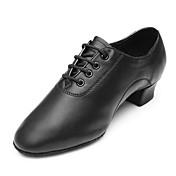 Hombre Zapatos de Baile Latino Cuero Tacones Alto / Zapatilla Tacón Bajo Personalizables Zapatos de baile Negro / Rendimiento