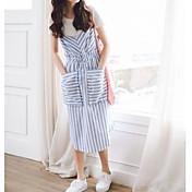 Mujer Simple Casual Verano T-Shirt Vestidos Trajes,Escote Redondo A Rayas Manga Corta Microelástico