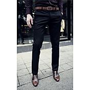 メンズ 活発的 ミッドライズ スリム マイクロエラスティック スーツ ビジネス パンツ 純色 ソリッド