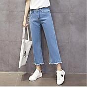 Mujer Casual Tiro Medio Microelástico Corte Ancho Vaqueros Pantalones Verano