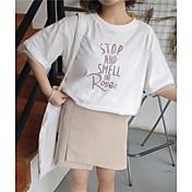レディース カジュアル/普段着 春 夏 Tシャツ,シンプル キュート ラウンドネック レタード コットン 半袖 薄手