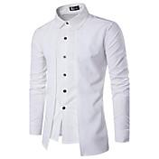 Hombre Simple Casual/Diario Primavera Verano Camisa,Escote Cuadrado Un Color Bloques Manga Larga Algodón Opaco