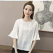 レディース カジュアル/普段着 夏 シャツ,シンプル ラウンドネック 幾何学模様 竹繊維 半袖 薄手