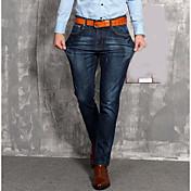 Hombre Casual Tiro Medio Microelástico Holgado Vaqueros Pantalones,Un Color Verano Todas las Temporadas