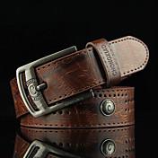 Hombre Ahuecado Remache Vintage Casual Legierung Cinturón de Cintura,Marrón Color Camello