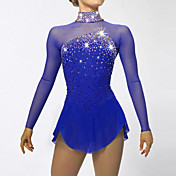 Vestido de patinaje artístico Mujer Chica Patinaje Sobre Hielo Vestidos Azul Oscuro Aquamarina Licra Pedrería Lentejuela Alta elasticidad