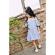 Vestido Chica de A Rayas Algodón Manga Corta Verano