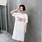 レディース カジュアル/普段着 春 夏 Tシャツ,シンプル ラウンドネック フラワー コットン 半袖 ミディアム