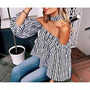 レディース カジュアル/普段着 シャツ,シンプル ストラップレス ストライプ コットン 竹繊維 長袖
