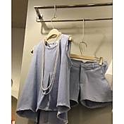 レディース お出かけ カジュアル/普段着 夏 Tシャツ(21) パンツ スーツ,シンプル ラウンドネック ゼブラプリント ノースリーブ