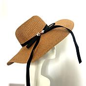 レディース 春/秋 夏 ヴィンテージ カジュアル 装飾 ハット 麦わら 純色 日よけ帽