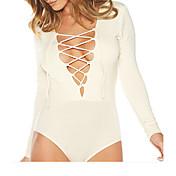 Mujer Casual Noche Playa Verano Camiseta Pantalón Trajes,Escote en V Profunda Un Color Mangas largas Algodón / nylon con un toque de