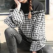Mujer Simple Casual/Diario Camisa,Cuello Camisero Cuadrícula Manga Larga Poliéster