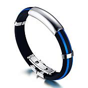 Pánské ID Náramky Rock bižuterie Módní Hip-hop Silikon Titanová ocel Circle Shape Round Shape Šperky Pro Narozeniny Sport Vánoční dárky