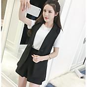 レディース カジュアル/普段着 夏 Tシャツ(21) パンツ スーツ,シンプル 活発的 ラウンドネック カラーブロック 半袖 マイクロエラスティック