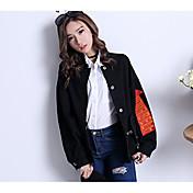 レディース 日常 春 デニムジャケット,カジュアル シャツカラー プリント レギュラー コットン 長袖