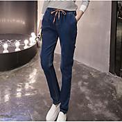 Mujer Casual Alta cintura Microelástico Delgado Vaqueros Pantalones,Un Color Verano