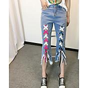レディース ストリートファッション ミッドライズ リラックス マイクロエラスティック ワイドレッグ パンツ カラーブロック