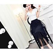 レディース 夏 Tシャツ(21) スカート スーツ ディープVネック 半袖