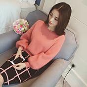 Mujer Regular Pullover Noche Casual/Diario Sexy Vintage Bonito,Un Color A Rayas Cuello Alto Manga Larga Algodón Acrílico Invierno Grueso