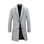 メンズ カジュアル/普段着 冬 トレンチコート,シンプル シャツカラー ソリッド ロング コットン 長袖