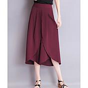 レディース ストリートファッション ミッドライズ リラックス マイクロエラスティック ワイドレッグ パンツ ソリッド