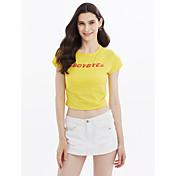 Mujer Camiseta Letra Algodón
