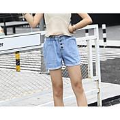 Mujer Casual Tiro Medio Microelástico Shorts Holgado Pantalones, Un Color Verano
