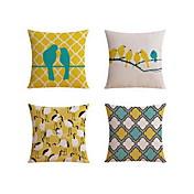 4 PC Lino Funda de almohada Almohada de viaje El amortiguador del sofá Cobertor de Cojín Almohada de cama Almohada de cuerpo,Geométrico