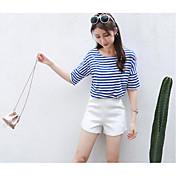 レディース カジュアル/普段着 夏 Tシャツ(21) パンツ スーツ,シンプル Uネック ソリッド ストライプ 半袖