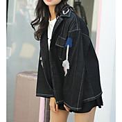 レディース 日常 春 デニムジャケット,現代風 シャツカラー ソリッド レギュラー その他 長袖