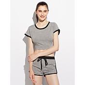 Mujer Casual Básico Casual/Diario Diario Casual Deportes Todo el Año Camiseta Pantalón Trajes,Escote Redondo Un Color Mangas cortas