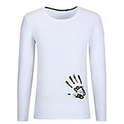 Hombre Simple Casual/Diario Tallas Grandes Para Todas las Temporadas Otoño Camiseta,Escote Redondo Estampado Manga Larga Algodón Medio