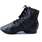 Mujer Zapatos de Jazz Semicuero / Cuero Plano / Tacones Alto Tacón Plano Personalizables Zapatos de baile Negro / Entrenamiento