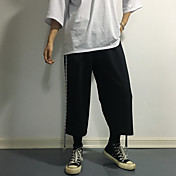 レディース シンプル ミッドライズ ワイドレッグ 非弾性 Culotte パンツ ソリッド ストライプ