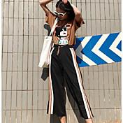 レディース カジュアル/普段着 夏 Tシャツ(21) パンツ スーツ,シンプル ラウンドネック ストライプ プリント 半袖 マイクロエラスティック