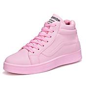 女性用 靴 ラバー 春 秋 コンフォートシューズ スニーカー ウォーキング フラットヒール ラウンドトウ 編み上げ のために アウトドア ホワイト ブラック ピンク