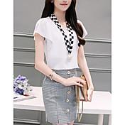 レディース 日常 カジュアル 夏 Tシャツ(21) スカート スーツ,カジュアル Uネック カラーブロック 格子柄 半袖