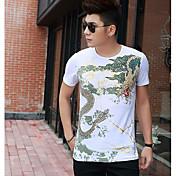 メンズ お出かけ Tシャツ,ストリートファッション ラウンドネック プリント カラーブロック その他 半袖