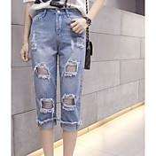 Mujer Sencillo Tiro Medio Microelástico Vaqueros Shorts Pantalones,Delgado Bloques
