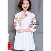 レディース カジュアル/普段着 シャツ,シンプル クルーネック 刺繍 コットン 七分袖